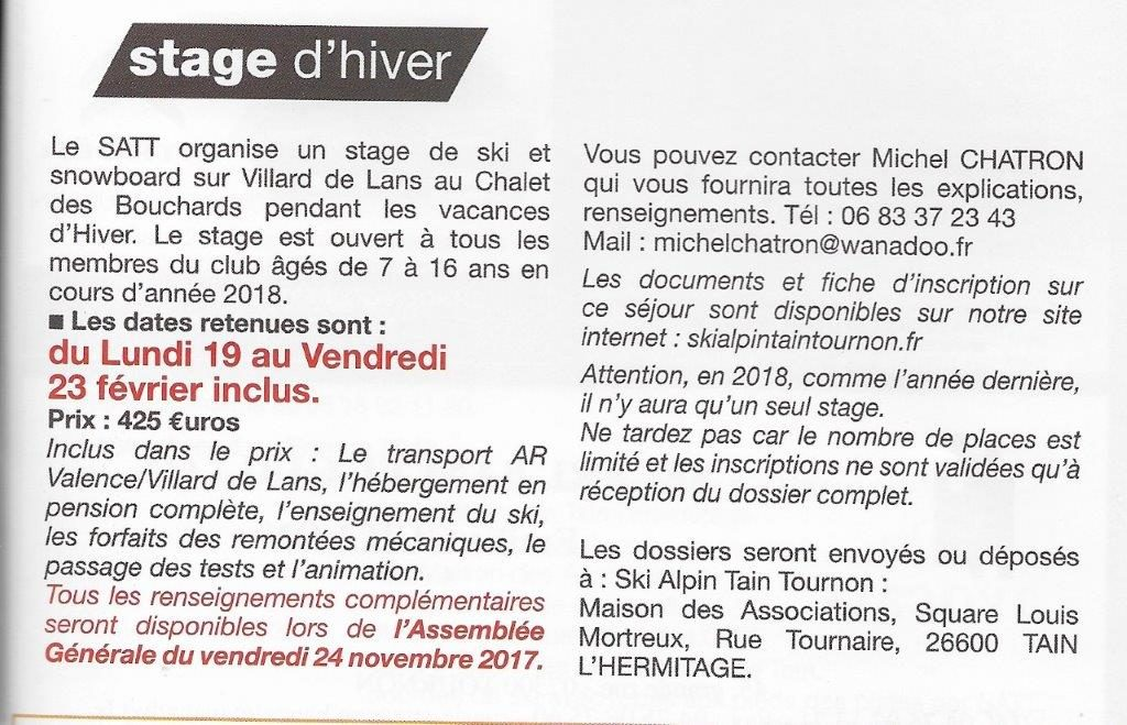 STAGE D'HIVER 2018